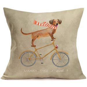 Dachshund Riding A Bicycle Throw Pillow Cover Case